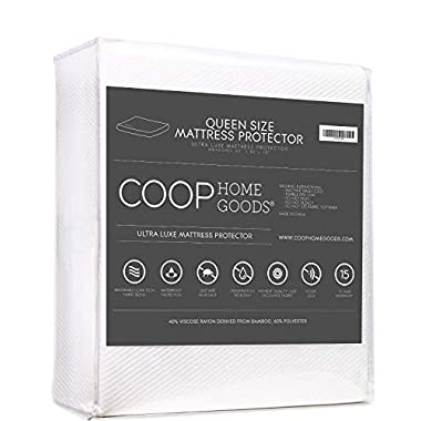 Lulltra Waterproof Mattress Protector by Coop Home Goods - Cooling Waterproof Hypoallergenic Topper- Queen Size Cover- White -15 year warranty