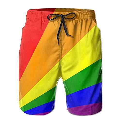 Sunny R Bandera LGBT Pride Rainbow Uomo Nuotare Fare Surf Spiaggia Trunks Asciugatura Veloce Pantaloncini con Tasche M