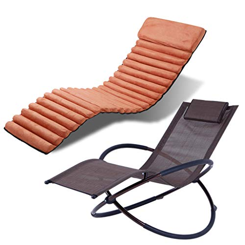 Ergonomic Recliner Garden Chair Folding Chair, Rocking Lounger, Includes Cushion, Steel Sun Lounger,Breathable Textile Cover 180 kg Load for Garden and Patio Orange