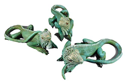 3er Set Echse Leguan je 14 x 6 cm Reptil Drache Terrarium Tier Figur Deko GOR 9002