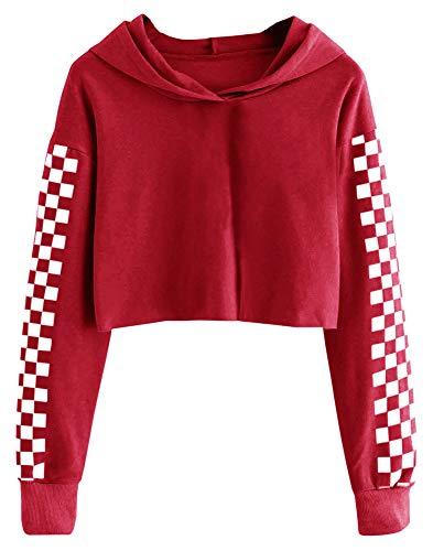 Imily Bela - Sudadera corta con capucha para niñas, manga larga con cuadros, moderna - Rojo - 10-12 años