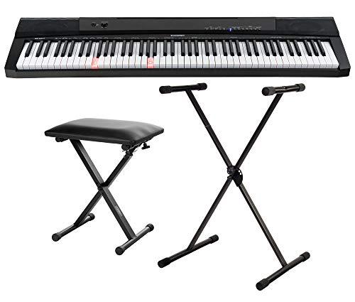 McGrey BS-88LT Keyboard Set - Einsteiger-Keyboard in Stagepiano-Optik mit 88 Leucht-Tasten - 146 Klänge - mit Sustain-Pedal - Spar-Set inklusive Ständer und Bank - schwarz