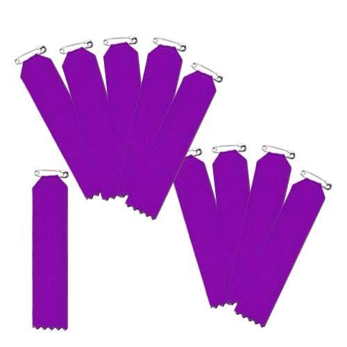 盾型 紫色 10枚入(一枚ビラ)【リボン徽章・胸章】 安全ピン仕様