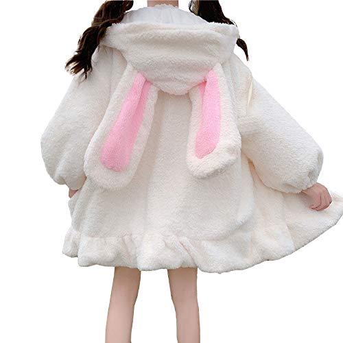 YEMOCILE Damen Cute Bunny Ear Langarm Fuzzy Fluffy Rabbit Tops Sweatshirt Hoodie Jacke Mäntel Weiss,L
