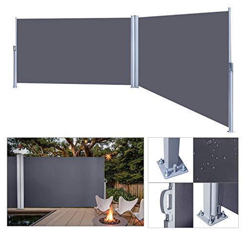 wolketon Seitenmarkise Anthrazit TÜV,geprüft UV,Reißfestigkeit,seitlicher Sichtschutz sichtschutz,für Balkon Terrasse ausziehbare markise (160 x 600 cm Anthrazit)
