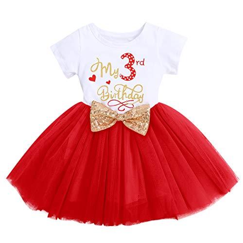 FYMNSI Vestido de manga corta para bebé, niña, de algodón, tutú de tul, línea A, vestido de princesa, vestido de fiesta para sesión de fotos., Rojo - Mi 3º cumpleaños, 3 Años