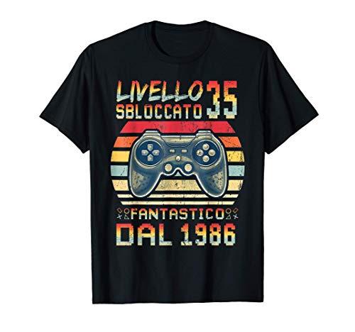 Vintage 1986 Livello 35 Sbloccato 1986 35 anni videogiochi Maglietta