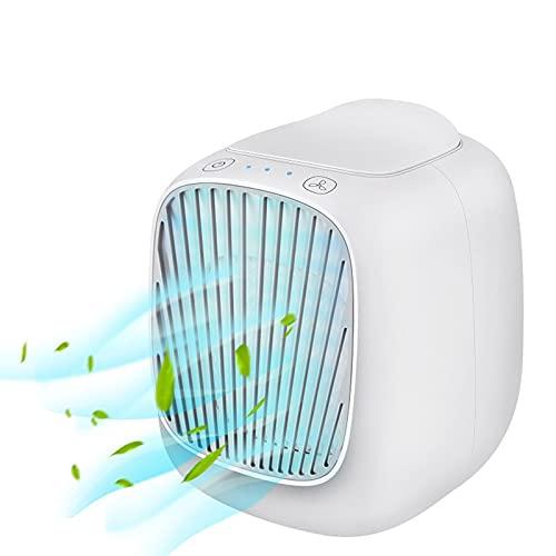 Mini aire acondicionado portátil, 3 velocidades de ventilador Aire acondicionado alimentado por USB Ventilador de humidificación móvil de escritorio, adecuado para la oficina en casa al aire libre