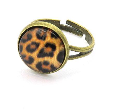 Leo Motiv Cabochon Ring Damen Modeschmuck bronzefarben größenverstellbar