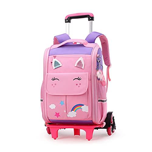 VISTANIA Zaino del Carrello per Bambini - Zaini per Ragazze Borse Scolastiche Casual Daypacks Viaggi Trolley Zaino con Ruote, Rosa, 6 Ruote,Viola