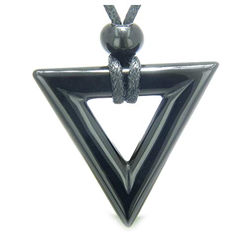 BestAmulets Amulet Triangle Protection Powers Black Agate Arrowhead Spiritual Pendant Necklace