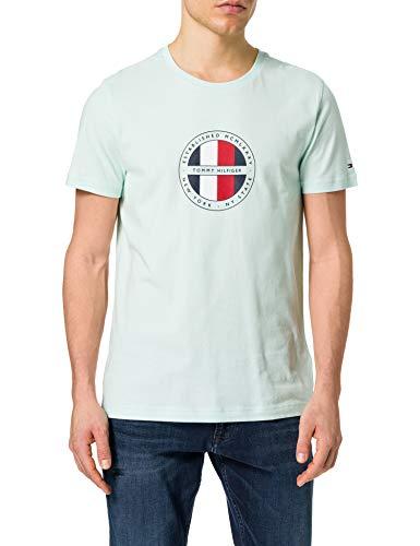Tommy Hilfiger Circular Logo tee Camiseta, Oxígeno, M para Hombre
