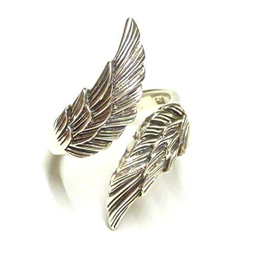 Anello in argento, anello aperto con ali d'angelo, in argento Sterling, misura 62-19,7