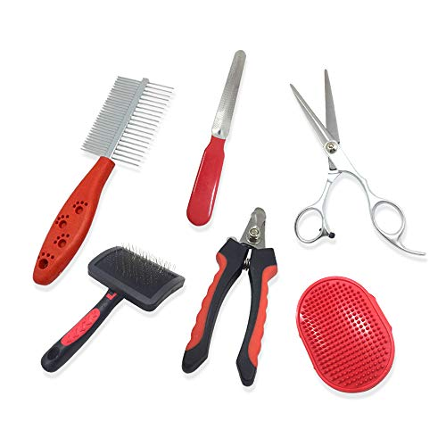 5-Piece Professional Dog Grooming Kit - Dog Grooming Brushes & Pet Grooming Kit - Premium Dog Grooming Supplies & Dog Grooming Combs - Hair Brushes for Dogs & Best Dog Grooming Accessories