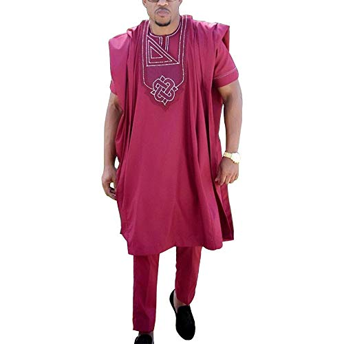 HD African Clothing for Man Embroidery Dashiki Kaftan Heritage Cultural Outfits 3 Pieces Red 3XL