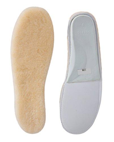 ABUSA Sheepskin Insoles Women's Premium Think Wool Fur Fleece Inserts Cozy & Fluffy 9