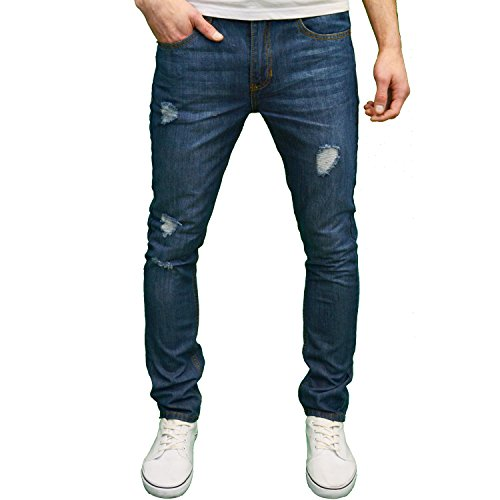 Soulstar Mens Designer Ripped Straight Leg Slim Fit Jeans, Available in 4 Colours (32W x 34L, Mid Blue)