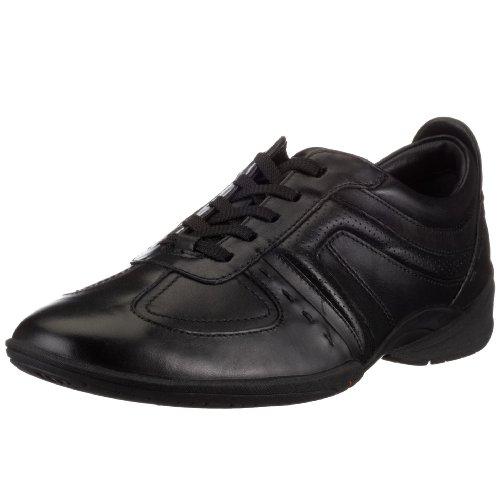 Clarks Flux Spring 203390557, Herren Schn�rhalbschuhe, Schwarz (Black Leather), EU 42,5