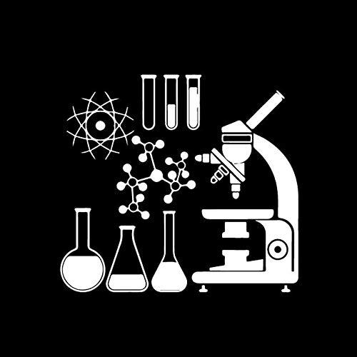 18CM16.5CM Microscope Scientist Chemistry Laboratory Decor Vinly Decal Car Sticker Cool Black/Silver (Color Name : Silver)