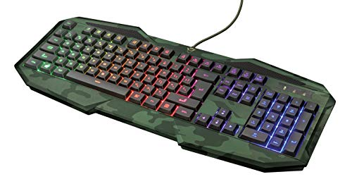 Trust Gaming GXT 830-RW Avonn Gaming Toetsenbord Keyboard (QWERTY Layout, Rainbow Wave LED Verlichting, 12 Multimediatoetsen) Camo