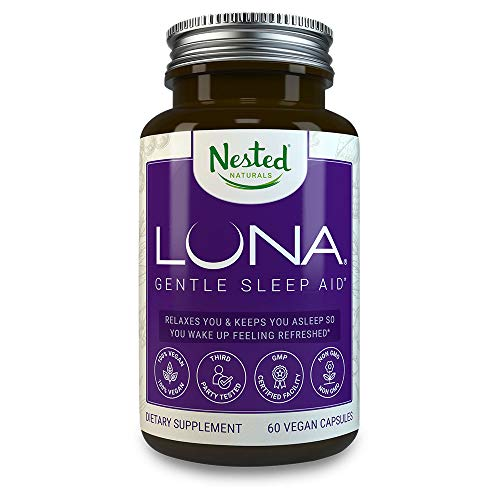 LUNA | #1 Sleep Aid on Amazon | Naturally Sourced Ingredients | 60 Non-Habit Forming Vegan Capsules | Herbal Supplement with Melatonin, Valerian Root, Chamomile, Magnesium | Sleeping Pills for Adults