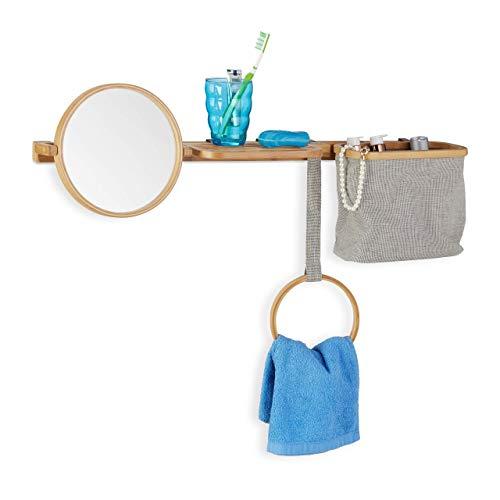 Relaxdays Estantería de Baño con Espejo y Cesta, Bambú, Beige-Gris, 3 x 70 x 3 cm