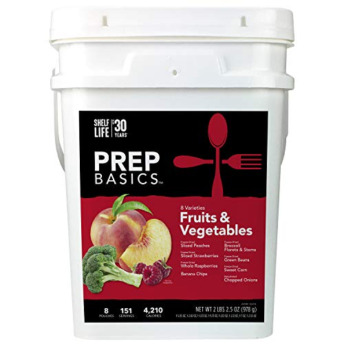 Prep Basics Fruits & Vegetables Variety   Emergency Food Supply  Freeze-Dried and Dehydrated   4,210 Total Calories   63 Total Grams Protein   Up to 30 Year Shelf Life   8 Sealed Pouches