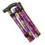 Bastón para caminar plegable de altura fácil ajustable y extensible, ligero, flexible y duradero, ayuda a caminar ayuda a la movilidad bastón plegable (flor púrpura)
