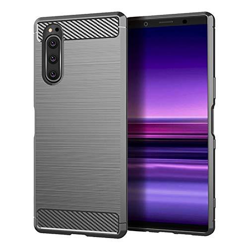 32nd Kohlefaser Serie - Schlanke Kohlefaser Effekt Stoßfeste Schutzhülle für Sony Xperia 5 (2019), schlanke & langlebige Hülle Cover - Grau
