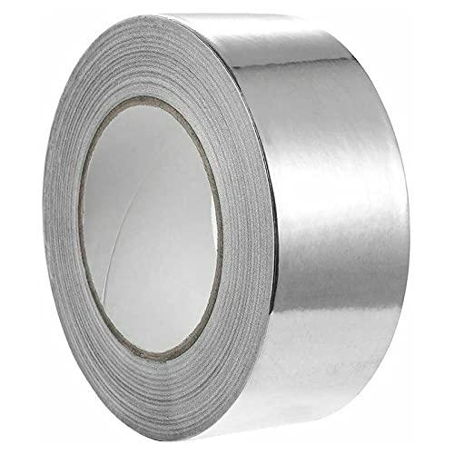 Yolistar 48 mm x 50 m Cinta Aluminio, Cinta Selladora de Aluminio, 1x Rollo de Cinta Adhesiva de Aluminio - Resistente a Llamas y Altas Temperaturas, Para Conductos, Aire Acondicionado (Plata)