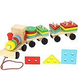 VIDOO 1 Pièce Jouets en Bois Jouets Puzzles Véhicule Train Éducatif Enfants Bébé Bois Massif Bois Empilant Train Tout-Petit Puzzle pour Enfants
