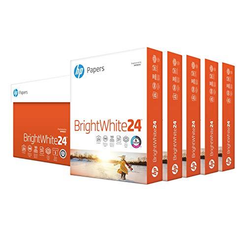 HP Printer Paper 8.5x11 BrightWhite 24 lb 5 Ream Case 2500 Sheets 100 Bright Made in USA FSC...