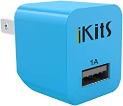 USB Wall Charger, iKits [UL Certified] Single Port Travel Charger Ultra Compact Foldable Plug Adapter Compatible with Samsung S7, HTC, LG, iPhone XR,XS,X,8,7Plus, 6S, 6,5S,5C,Power Bank and More Blue