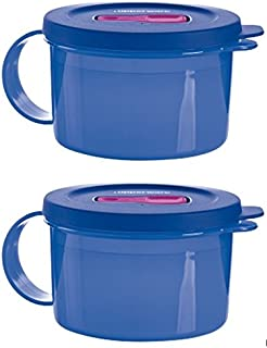 Tupperware Crystalwave Set of 2 Soup Mugs in Blue - Microwave Reheatable Food Storage Containers - 2 Cup Capacity Each