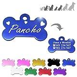 Hueso para Mascotas pequeñas-Medianas con Corazones Placa Chapa Medalla de identificación Personalizada para Collar Perro Gato Mascota grabada (Azul)
