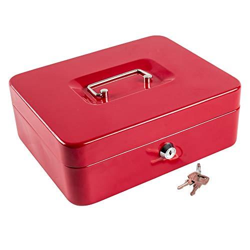 Caja de dinero con bandeja de bloqueo, caja de dinero de metal portátil con doble capa y 2 llaves para seguridad, caja de bloqueo, 9,84 x 7,87 x 3,54 pulgadas, color rojo