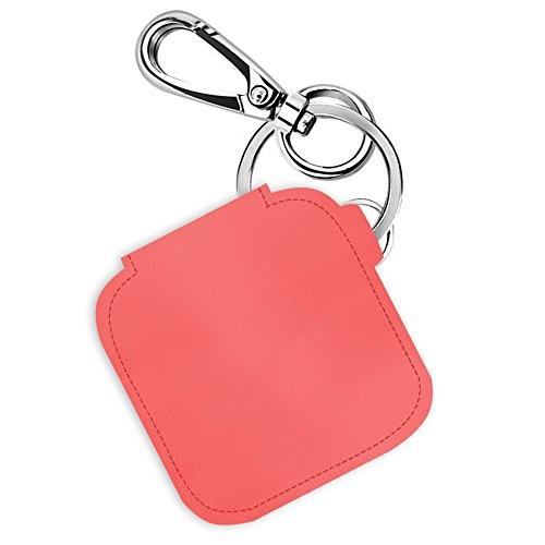 Logity Tile Mate/ Tile Sport/ Tile Style Case avec porte-clés mousqueton, couverture en peau de cuir pour Tile Mate - Localisateur de clés / de telephone / d'objets, Design anti-perdu, Rose.