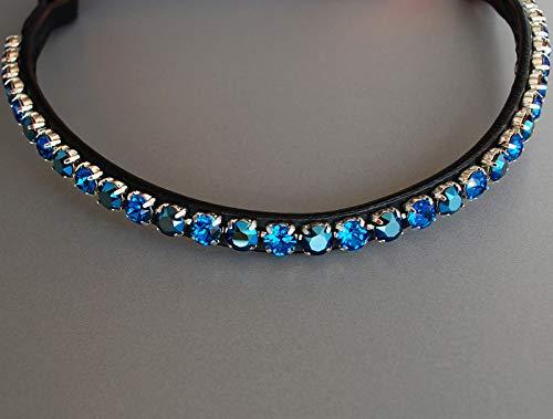 GlücksHucke Stirnriemen Pferd \'Capri Blue\' handgenäht mit großen Steinen in Dunkelblau & Metallic Blau, geschwungen, schmal (Warmblut XL, Lederfarbe Schwarz)