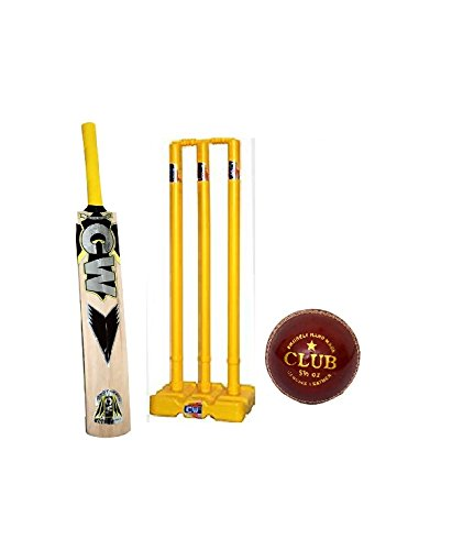 CW Thunder Cricket Set Adults Full Size Kashmir Willow Bat Plastic Wicket Stand
