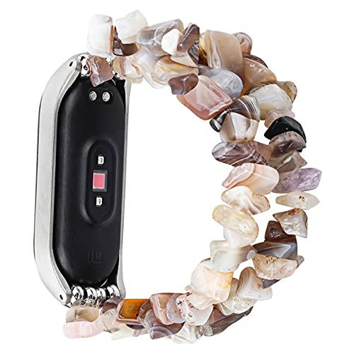 Pulsera de joyería para mi banda MI 6 5 4 3 Reloj Correa para Miband Stone Forma Beads Mujer Pulsera Cinturón DFKE (Band Color : Gray White, Band Width : For Mi Band 5)