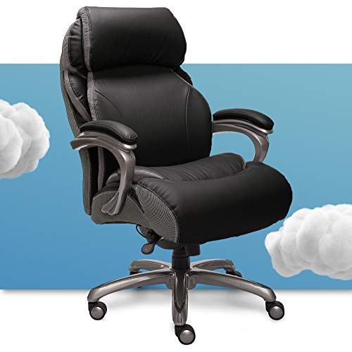 Serta Big and Tall Executive Office Chair with AIR Technology and Smart Layers Premium Elite Foam, Supports up to 400 Pounds, Bonded Leather - Black