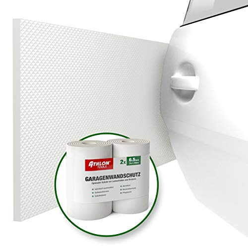 ATHLON TOOLS 2X FlexProtect Garagen-Wandschutz, je 2 m lang, Extra Dicker Auto-Türkantenschutz, Selbstklebend, Wasserabweisend (Weiß)