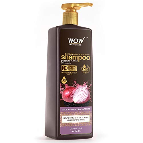 WOW Skin Science Onion Shampoo With Red Onion Seed Oil Extract, Black Seed Oil & Pro-Vitamin B5 - No Parabens, Sulphates, Silicones, Color & Peg - 1L