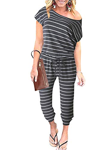 ANRABESS Women's Stripes Off Shoulder Elastic Waist Beam Foot Jumpsuit Rompers Overall with Pockets A203huibai-M WFF04
