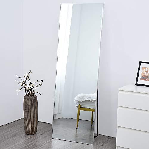 Full Length Mirror, Floor Standing Mirror, Full Body Mirror, Wall Mirror Full Length, Floor Mirror Full Length, Multi-Purpose Standing and Hanging, Metal Frame, 65×22 Inch, Silver