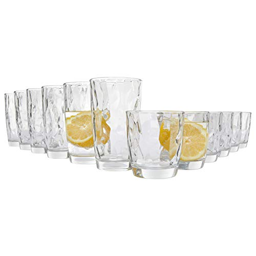 Bormioli Trinkgläser Diamant 12er Set | Füllmenge der Universalgläser 300 ml und 400 ml | Einzigartig designtes Gläser Set in Diamant-Optik | Als Saftgläser sowie Longdrinkgläser geeignet