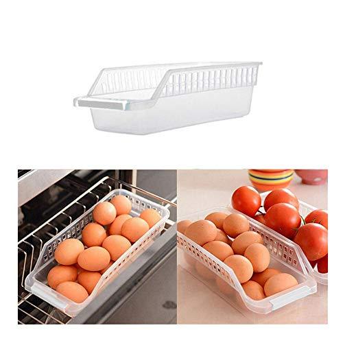 Balock Schuhe Kühlschrank Aufbewahrungsbox - 2019 Neu Kühlschrank Lagerung Box - für Gemüse Obst Milch, Durchsichtig Vorratsdosen Organizer - Kunststoff - 29.6 x 8.6 x 13.4 cm (Weiß)