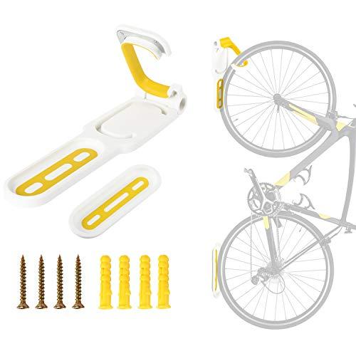 LuTuo Fahrradhalter, Fahrrad Wandhalterung, Fahrradhalterung, Fahrradlift, Vertikal & Gefaltet Platz Sparen, Elastischer Gummigriff, Hält Bis zu 50 LB, Mountain Road Folding Fahrrad