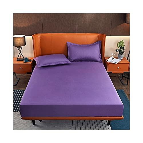 MZP Sábana Bajera Ajustable 100% Algodón Suave y Cómoda Sábana Bajera Algodón Liso Fitted Sheets Cotton Adecuada para Un Colchón con Una Altura de 2-10cm (Color : Purple, Size : 135x200cm)