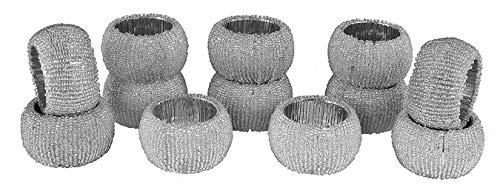 Baumwolle-Klinik Silber Glas Perlen Serviettenringe 12 Stück für hochzeit weihnachten täglicher Gebrauch Abendessen Tischgesellschaft Dekor